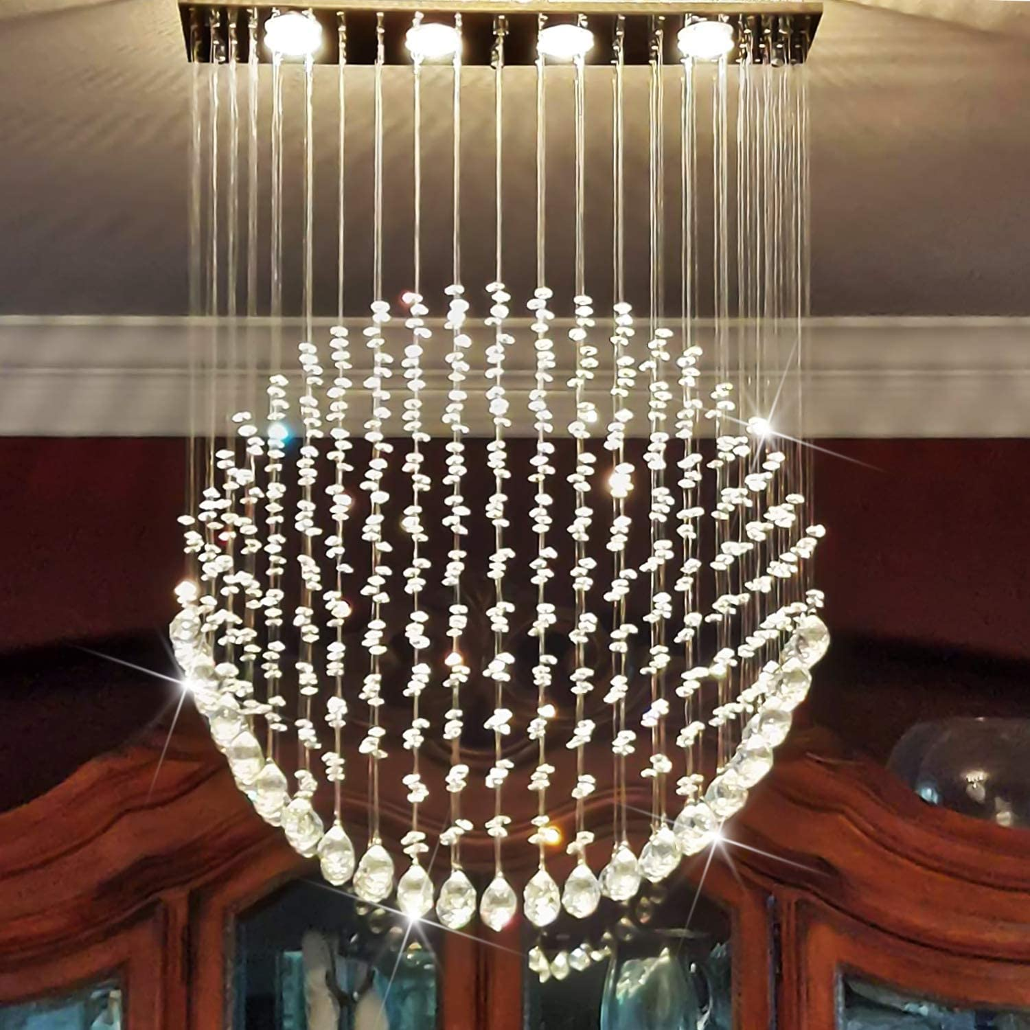 CRYSTOP Modern Rain Drop Romantic Crystal Contemporary Chandelier Lighting Wedding Cafe Flush Mount Indoor Ceiling Light Fixture L23.6 X W6 X H27.5 Inches