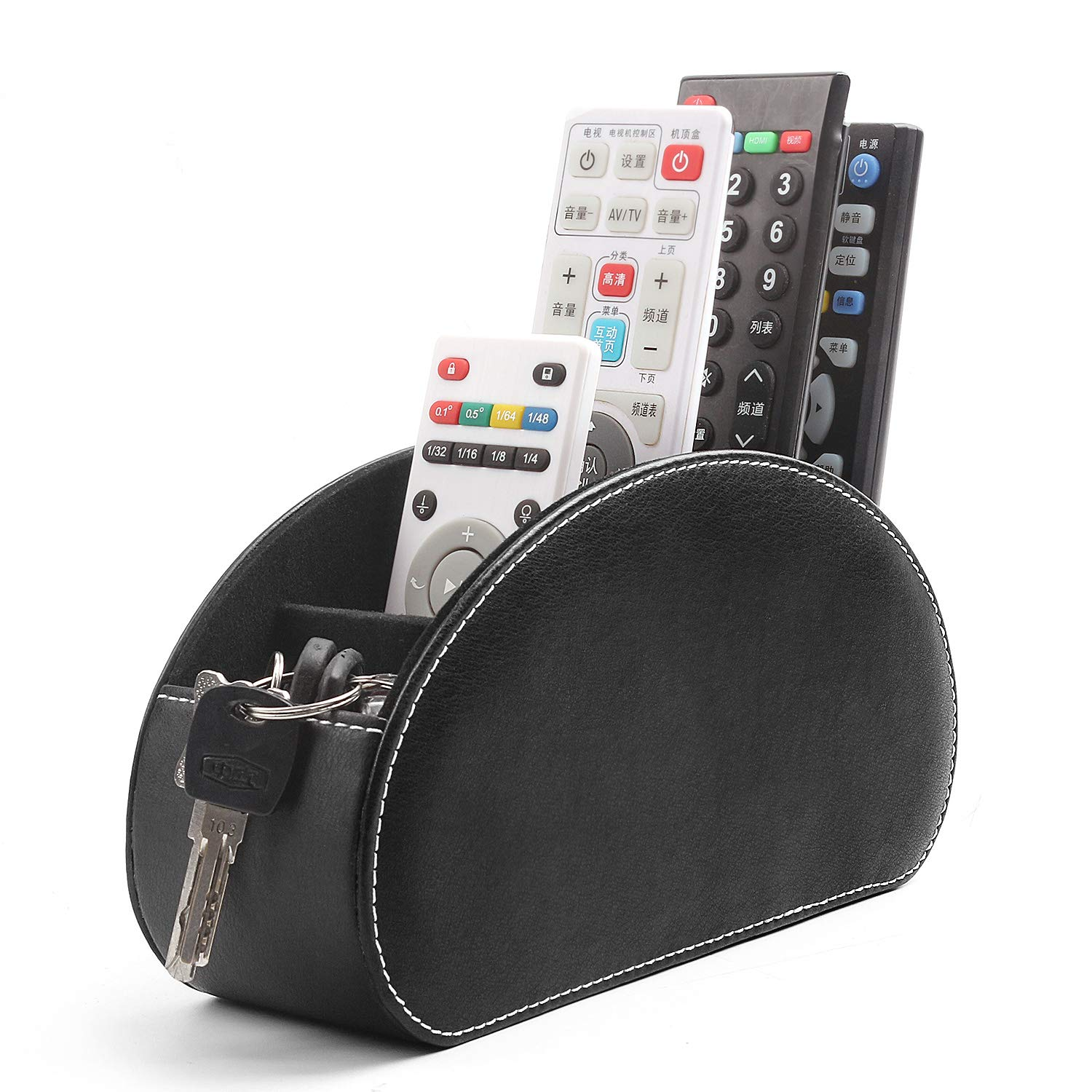 Remote Control Holder Organizer Leather TV Media Table Caddy Storage with 5 Spacious Compartments