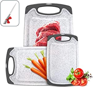 Aone Kitchen Cutting Board Set 3 Piece, BPA Free, Plastic Cutting Board with Non-Slip Feet and Juice Grooves,Dishwasher Safe,Portable Hanging, Gray