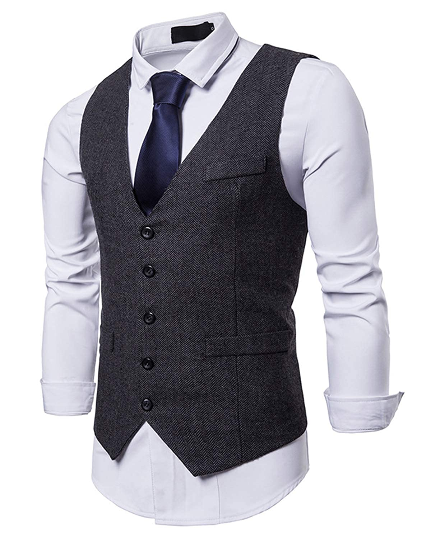 YCUEUST Uomo Tweed Single-Breasted Gilet Senza Maniche Wedding Waistcoat