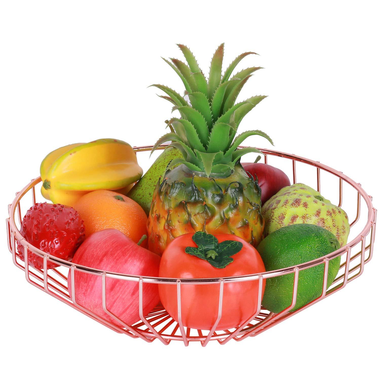 Nugoo フルーツバスケット ワイヤーフルーツボウル 大型キッチンカウンタートップ 装飾ストレージラック 果物 パン スナック 野菜用 ローズゴールド   B07HRLK2PP
