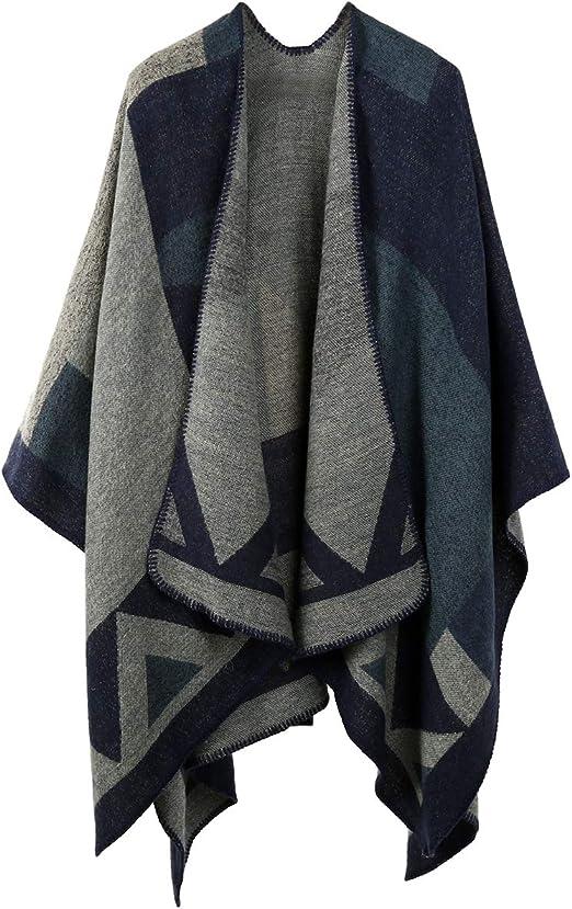 Womens Warm Winter Wrap Scarf Knitted Shawl Throw Cape Poncho Ladies One Size