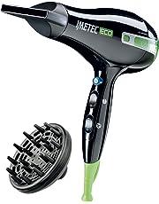Imetec Eco SE1 1000 Asciugacapelli con Tecnologia Eco Efficiency, 1400 W, 8 Combinazioni Aria/Temperatura, Diffusore per Capelli Ricci, Nero/Verde