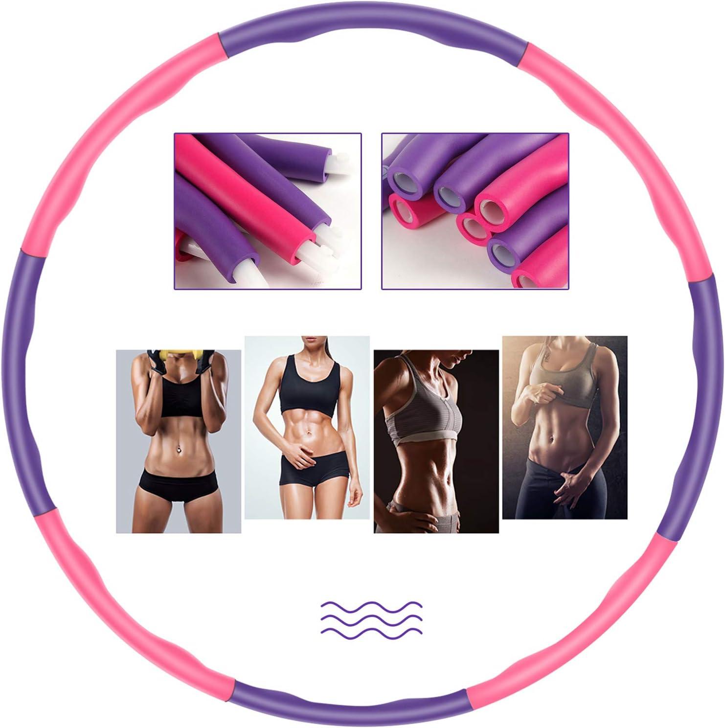 Hula Hoop Reifen Fitness Erwachsene elegant 6-8 Segmente Abnehmbar f/ür Erwachsene /& Kinder Geeignet F/ür Fitness//Training//B/üro oder Bauchmuskelkonturen mit Resistance Bands und Tasche 1.2Kg