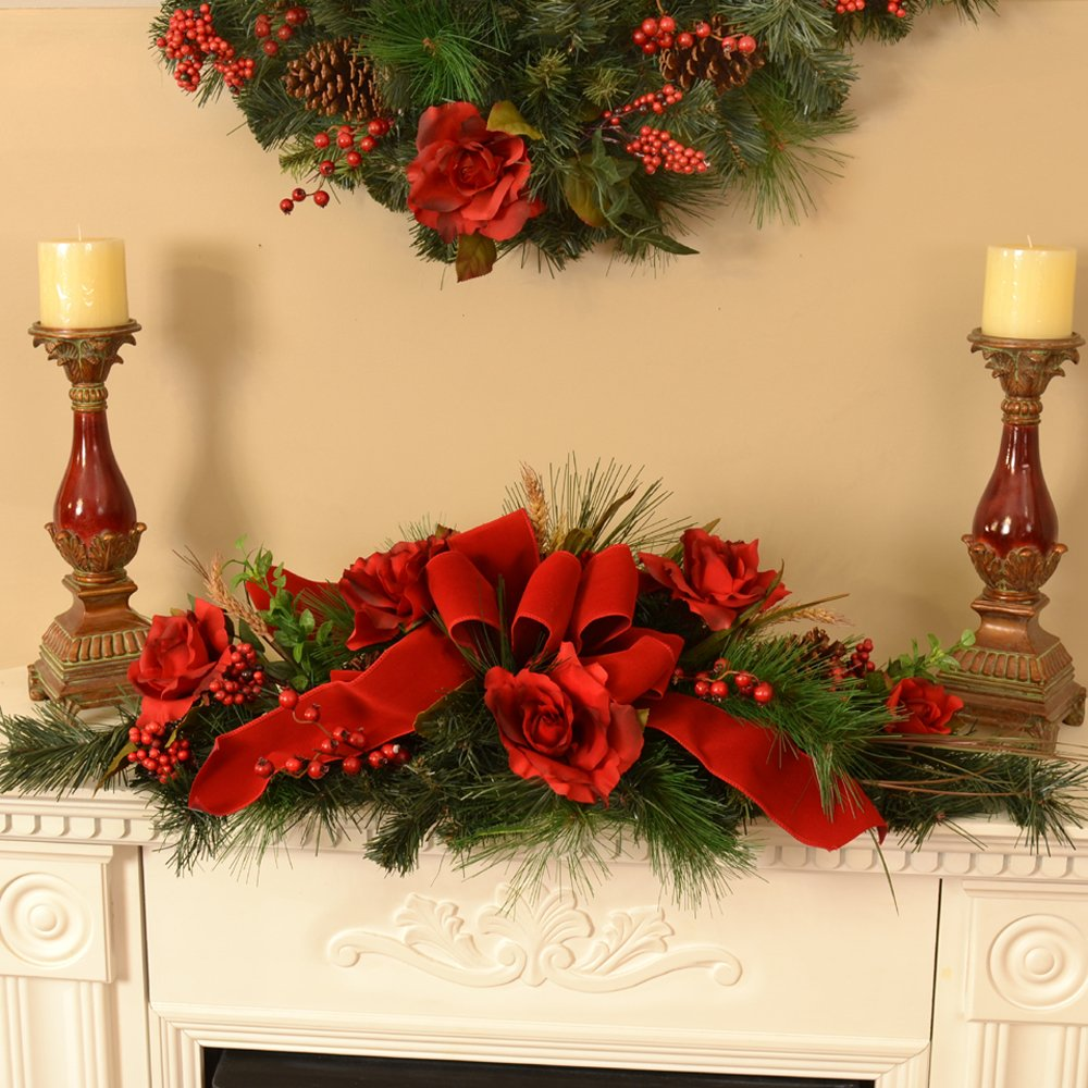 Floral Home Decor Christmas Centerpiece with Red Roses