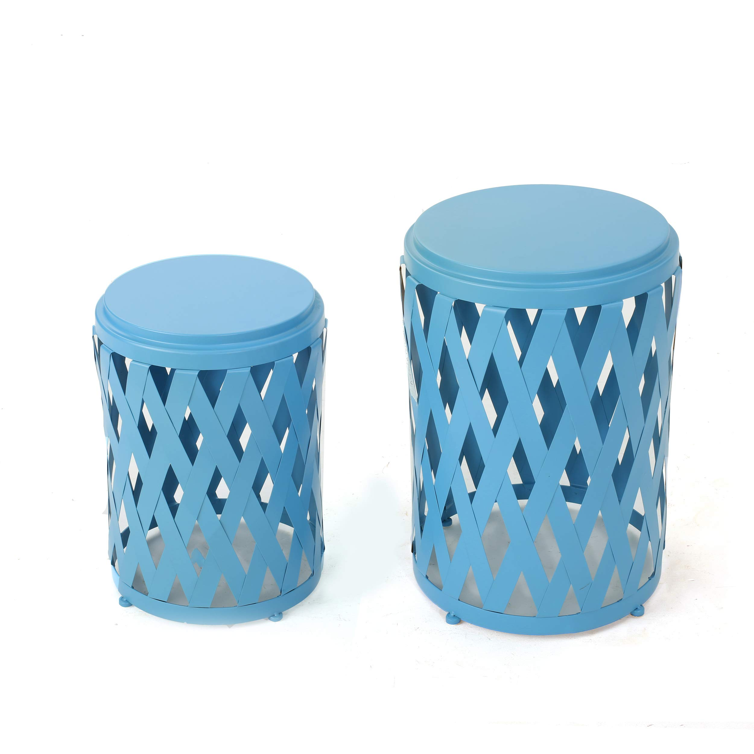 GDF Studio Ellen Nestable Outdoor Small and Large Iron Side Table Set (Set of 2) (Matte Blue)