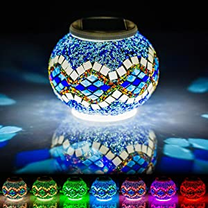 Mosaic Solar Lights Outdoor Color Changing,Waterproof Table Lamps,Crystal Glass Globe Ball Lights for Christmas Garden,Patio,Yard, Party Decorations