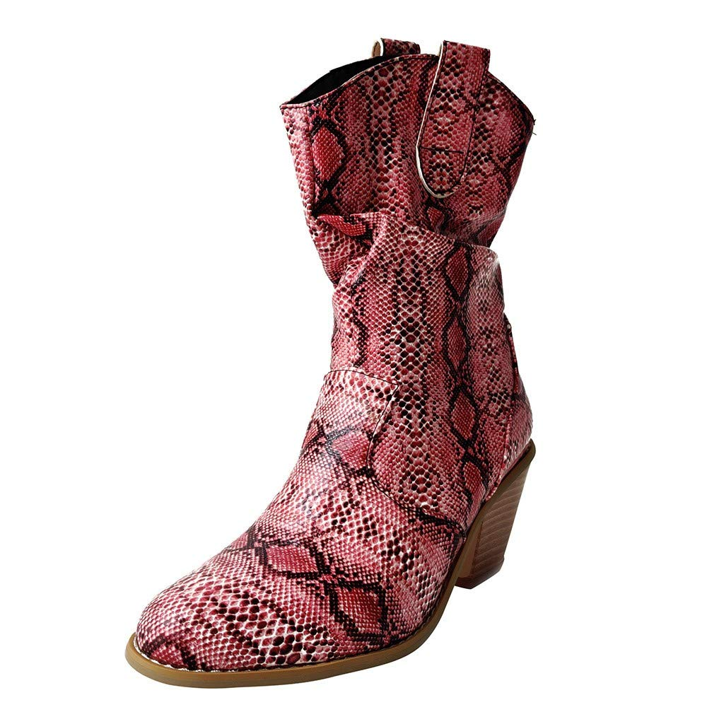 Women's Vintage Snakeskin Booties Slip-On Comfortable Heels Ankle Boots Fashion Combat Style Boot Hot Pink by SSYUNO
