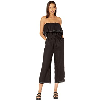 1.State Women's Off The Shoulder Ruffle Edge Linen Jumpsuit: Clothing