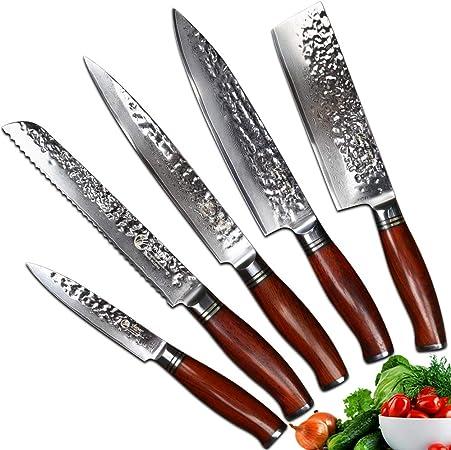 Yarenh Set Couteau Cuisine Professionnel 5 Pieces Lame En Acier