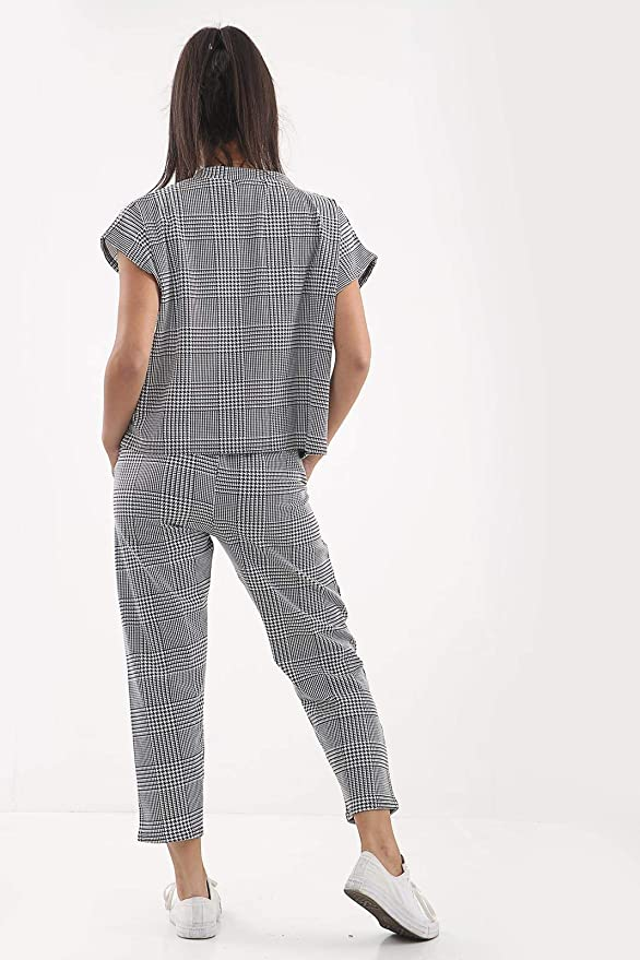 Love Celeb Look Women Check Dog Tooth Print Boxy Suit Loungewear Tracksuit Ladies Party Dress