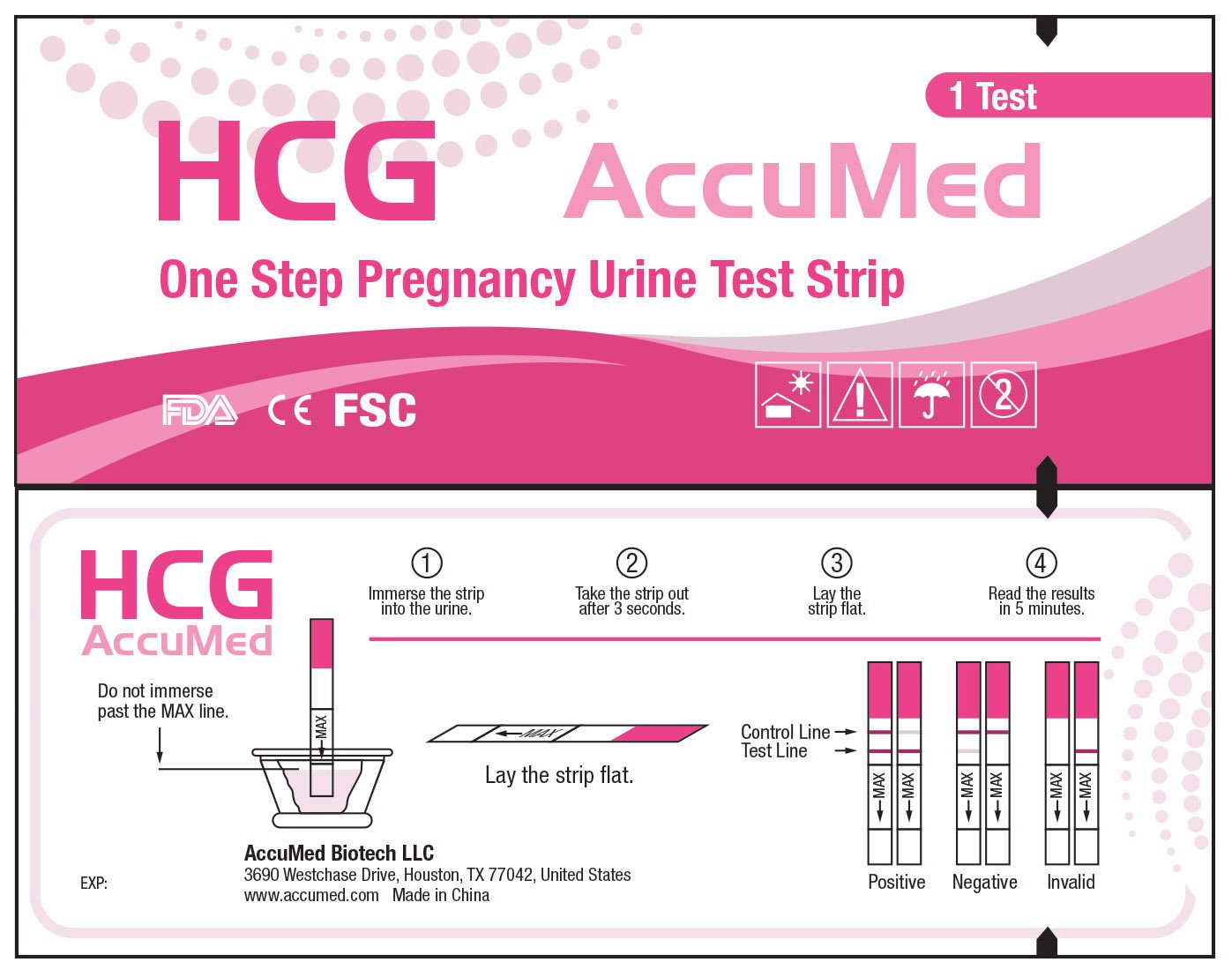 AccuMed Pregnancy (HCG) Test Strips Kit, Clear and Accurate Results, FDA Approved and Over 99% Accurate, 50 count - Expire 03/2019