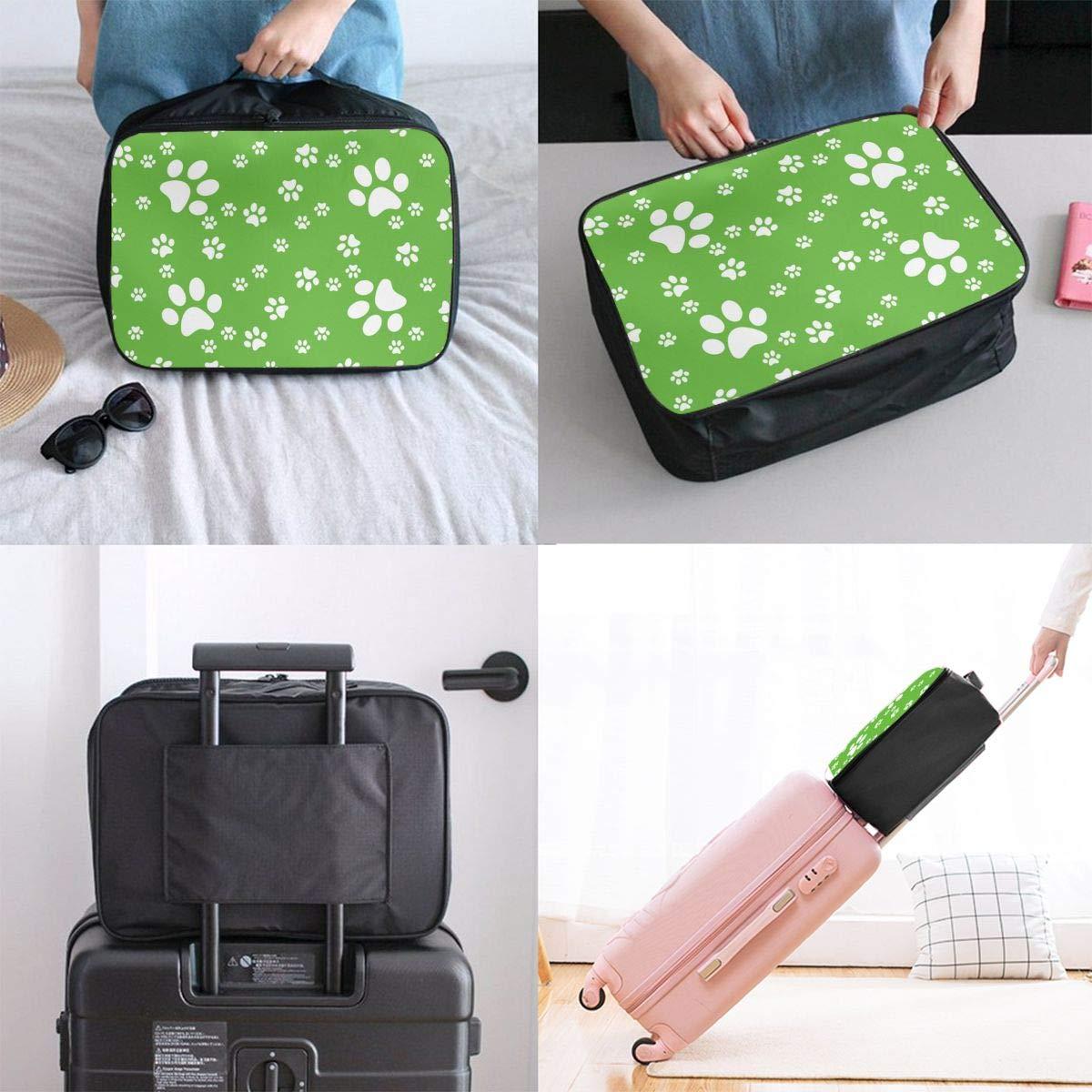 ADGAI Paws Seamless Paws Pattern Background Canvas Travel Weekender Bag,Fashion Custom Lightweight Large Capacity Portable Luggage Bag,Suitcase Trolley Bag