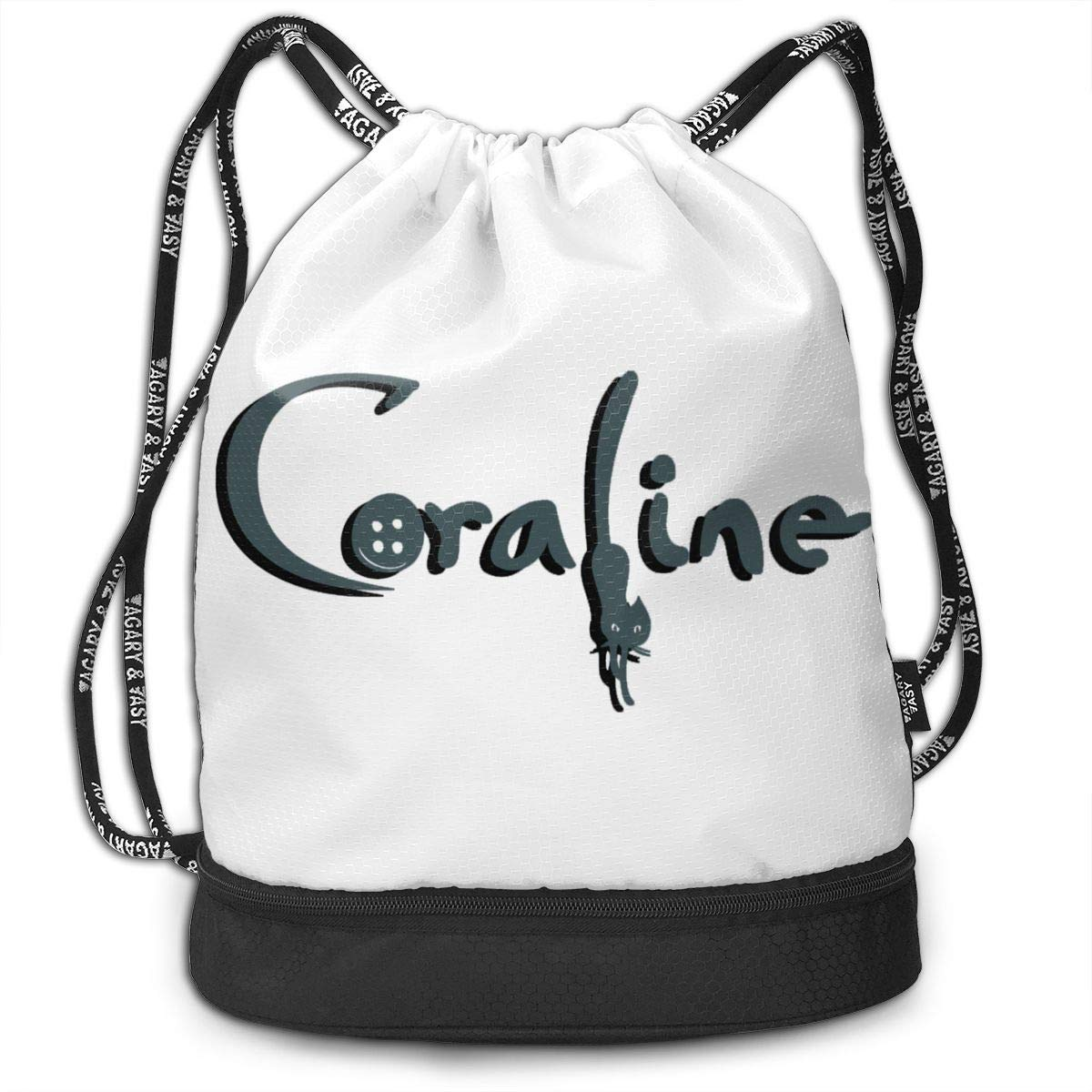 AgoodShop Coraline Logo Drawstring Backpack Sport Gym Travel Bag