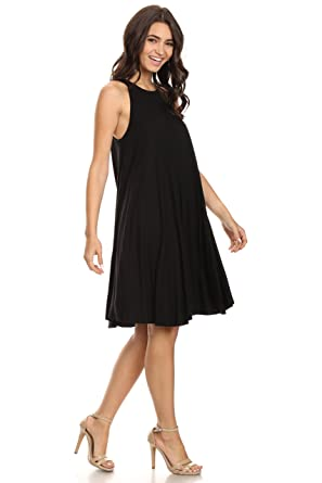145e0a0507e459 A+D Womens Sexy Sleeveless Halter Black Trapeze Swing Tank Midi Dress (Black ,