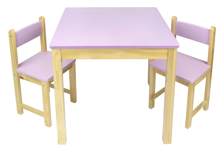 Table en bois dans un ensemble avec deux chaises rose - Ensemble table et 2 chaises bois