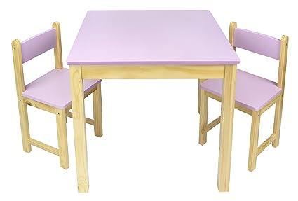 Mesa de madera con dos sillas - rosa Mesas y sillas infantiles de ...