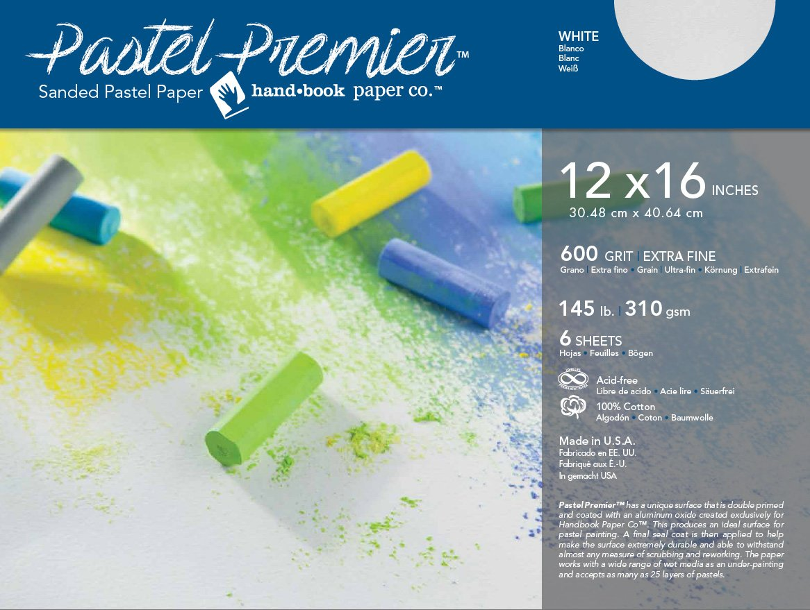 Global Art Pastel Premier Sanded Paper 600 Grit White 12 x 16, 6 Shts./Pkg GLOBAL ART MATERIAL 512046