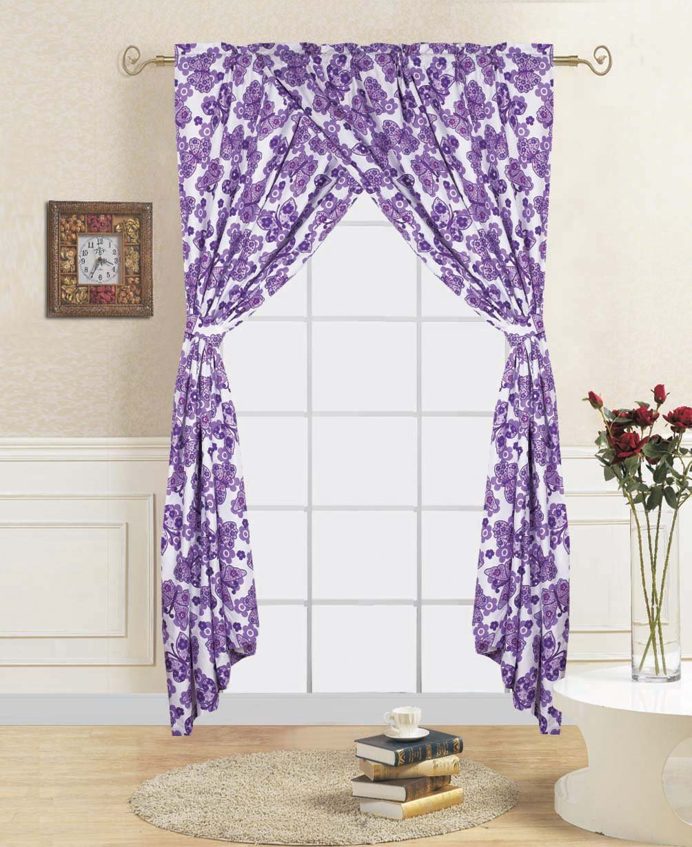 Linens And More 2 panels 2 tiebacks purple butterfly kids curtain (4 piece set)