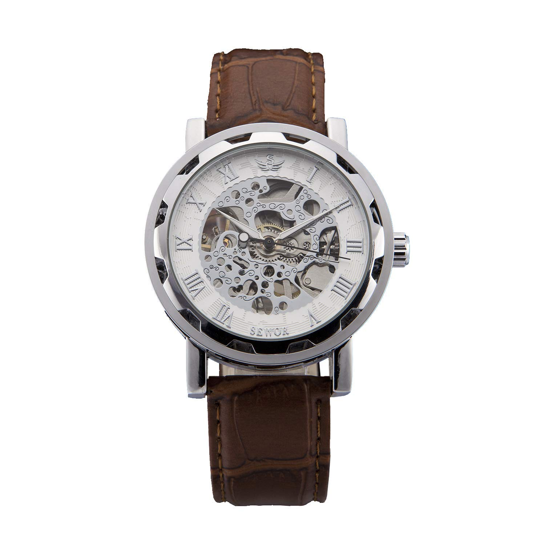 Sewor Men\'s Teampunk Trasparent Skeleton Analog Leather Mechanical Wrist Watch (White)
