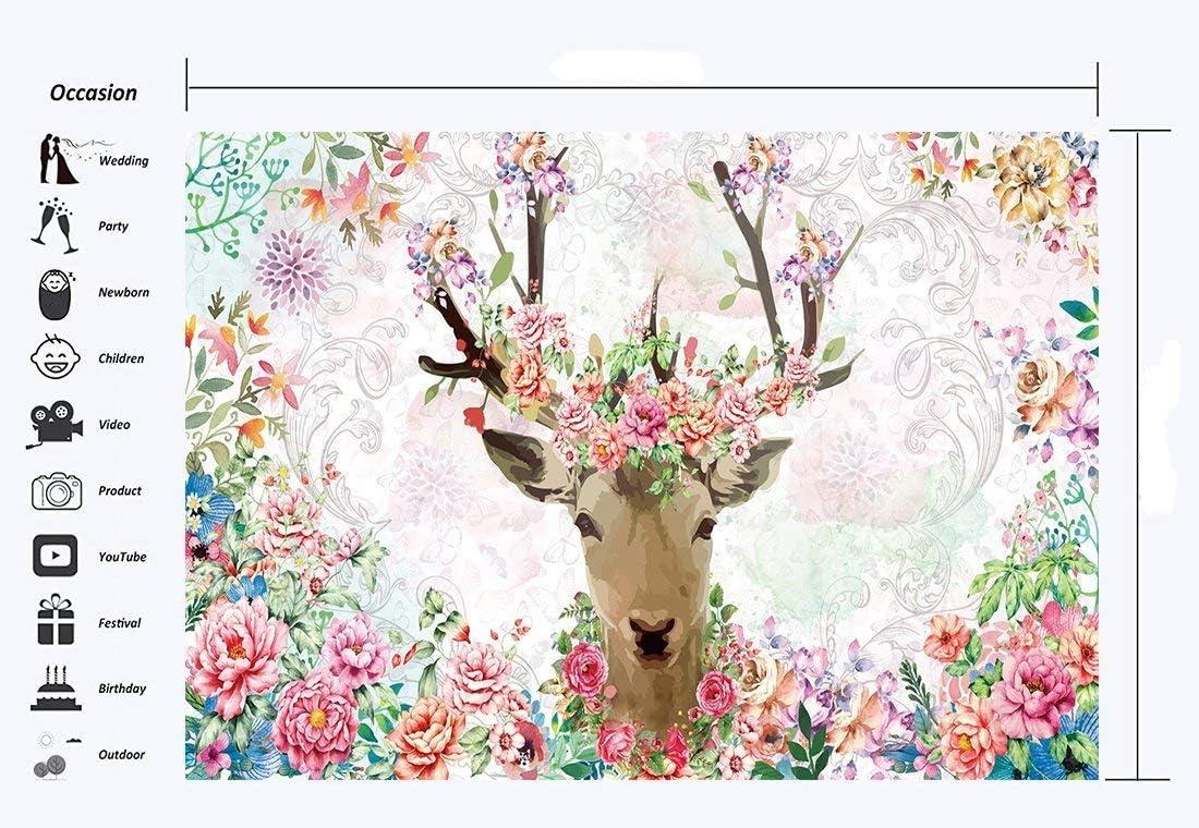 GoEoo Fairytale Sika Deer Backdrop 7X5FT Vinyl Dreamy Wonderland Backdrops Blooming Flowers Fantasy Landscape Photography Background for Girls Birthday Room Wallpaper Photo Studio Prop