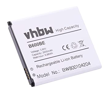vhbw Li-Ion batería 2600mAh (3.8V) para teléfono móvil Smartphone Samsung Galaxy S4 GT-I9500, S4 LTE GT-I9505 y B600, B600BE, B600BU.