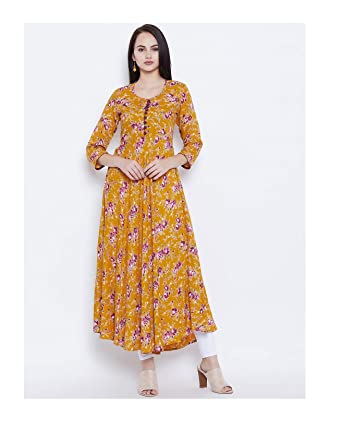 6d28abd09bc38 Amazon.com  HIRAL DESIGNER MALL Long Kurti Indian Style Mustard Yellow  Floral Print A-Line Kurta Women Kurta Tunic Top Indian Dress  Clothing