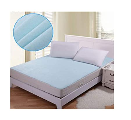 SANSEZZ Home Waterproof Hypoallergenic Mattress Protector for King Size Bed (Blue, 72x78-inch)