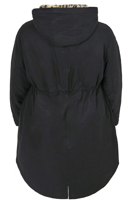 3e21e3aae Yours Clothing Women s Black Parka Coat With Animal Print Faux Fur ...