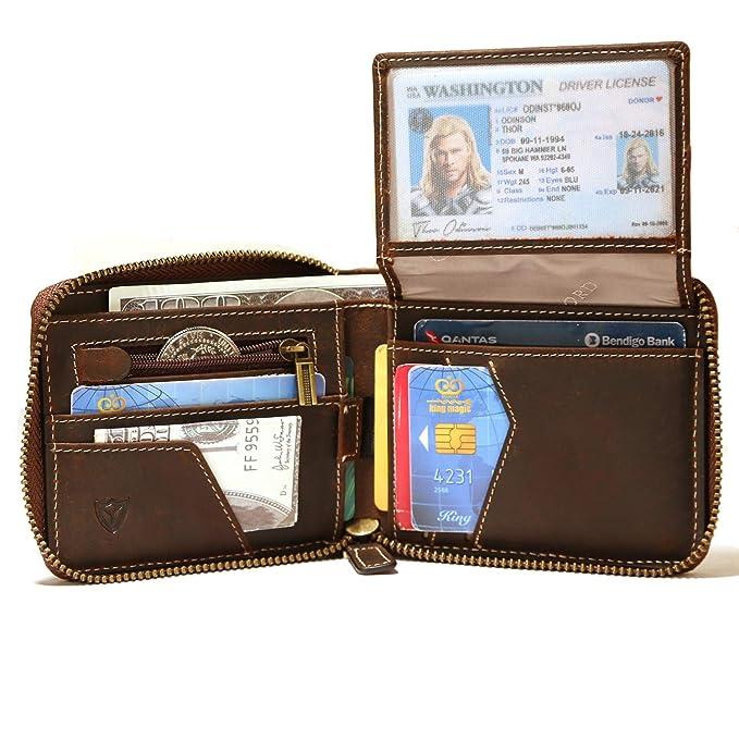 Amazon.com: RFID - Cartera de piel con cremallera para ...