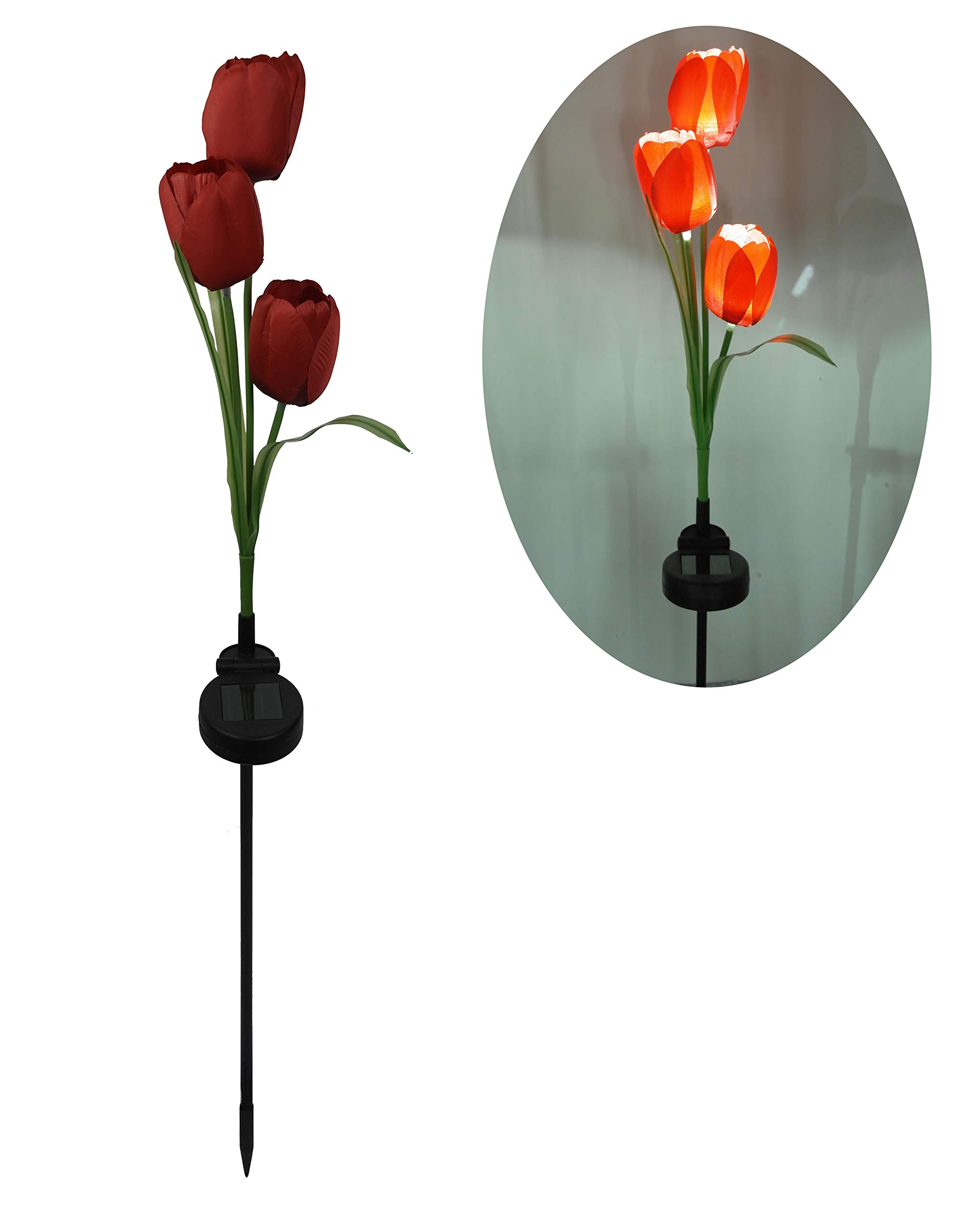 Roaming light Solar Garden Lighted 3pk Flowers-Tulip(Pink/red/White Available) Pack 2, Solar Flower Lights for Patio,Yard Decoration (Red)