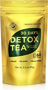Made by Earth - 30 Day Detox Tea with Detox Guide: 100% Natural Herbal Teatox - Speeds Metabolism for Easy Weight Loss, Reduces Belly Fat, Laxative-Free, Gentle Cleanse – 60 bags