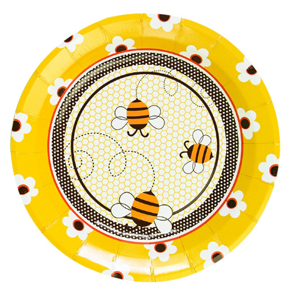 Bee Pattern Cake Snack Fruit Snack Home Office Party Plates 30Pcs