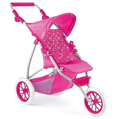Unibos Deluxe 3 Wheeled Dolls Buggy Stroller Jogger Pram Pushchair Girls Toy Brand New