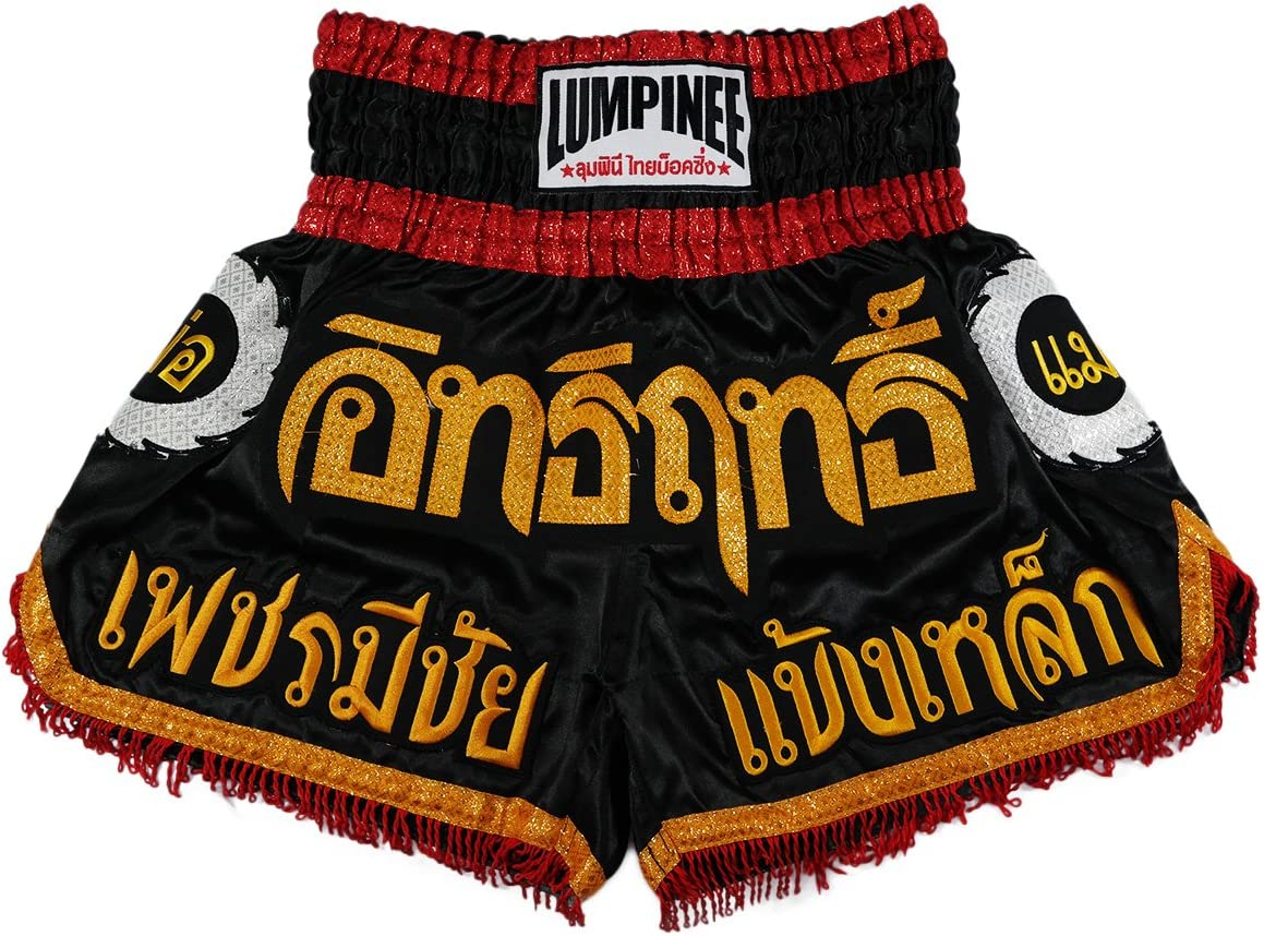 Lumpinee Super Power Series Black-Red Color Muay Thai Kick Boxing Shorts//LUM-017