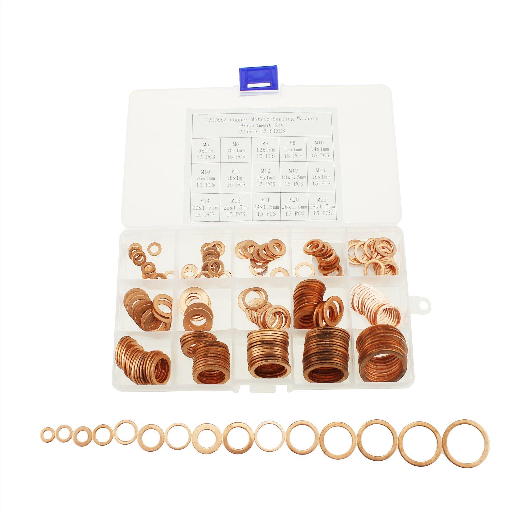 IZTOSS 225Pcs 15 Sizes Copper Metric Sealing Washers Assortment Set-M5 M6 M8 M10 M12 M14 M16 M18 M20 M22