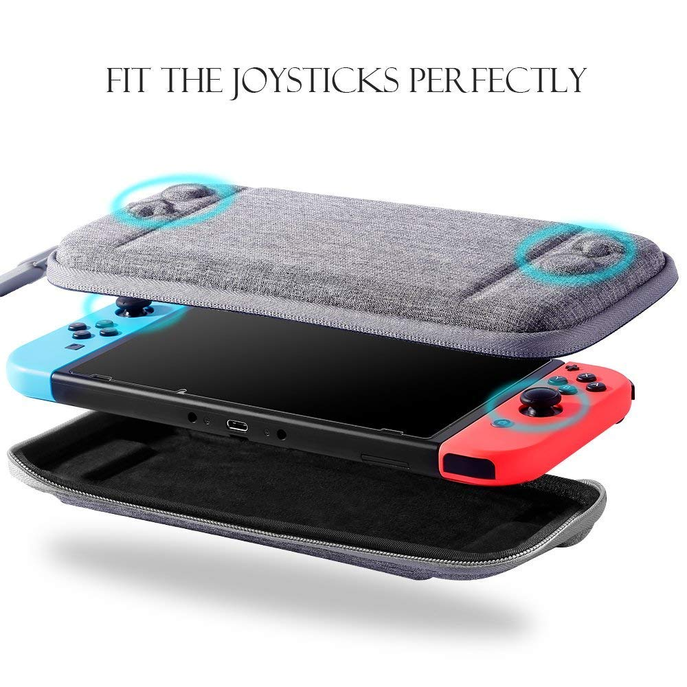 Nintendo Switch Slim Case and Tempered Glass Screen Protector, Protective Travel Carrying Case with 10 Game Cartridges, Hard Shell Pouch for Nintendo Switch Console and Accessories by MayBest (Grey)