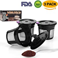 Reusable K Cup Coffee Filter Coffee Stainless Mesh Solo Filter Replacement for Keurig Brewers 1.0 or 2.0 Machine BPA Free (Black)