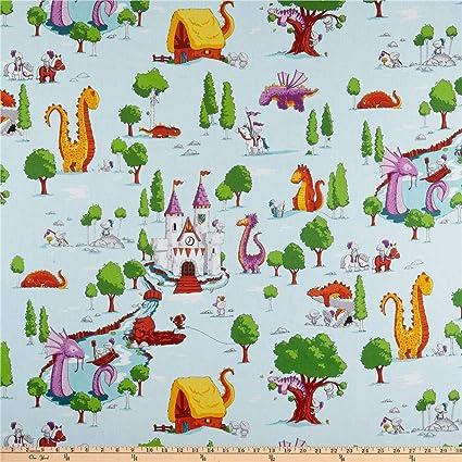 Dragons Main White Riley Blake Cotton Fabric