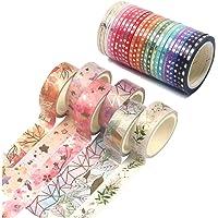 GIHENHAO -30 rollen Washi Tape Set, Washi Masking Tape Set Gouden Folie Print Afplakband Decoratief plakband voor…