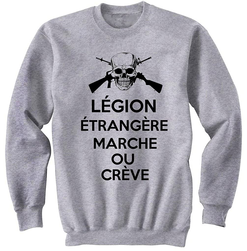 TEESQUARE1st Mens French Legion Etrangere Grey Sweatshirt