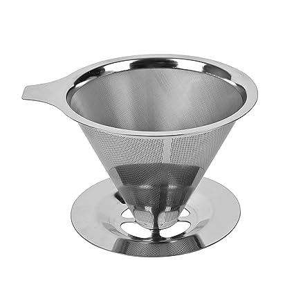 Yiyu Reutilizable Filtro de Café de Goteo de Acero Inoxidable, Embudo de Cafetera Filtro de