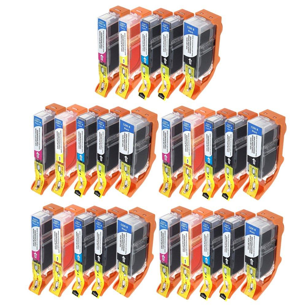INKMATE 5のセットpgi220 pgi221インクカートリッジチップ付きCanon Pixma mp560 mp620 mp640 mp980 mp990 ( 25パック) B01MZI9TR6