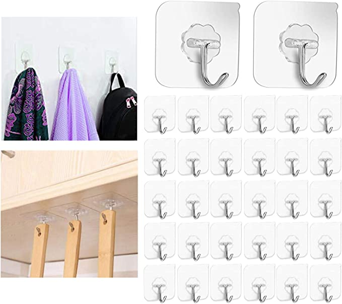 3-30 Self Adhesive Strong Sticky Hooks Heavy Duty Wall Seamless Transparent Hook