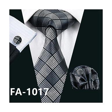 Pragmaticv Hombres corbata blanca de seda jacquard tejido corbata ...