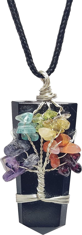 NK CRYSTALS Colgante Árbol de la Vida Collar de Cristal de Jade Verde Colgante de Cono de Reiki Colgante Piedras Preciosas Piedras de Chakra Natural Talladas Regalos