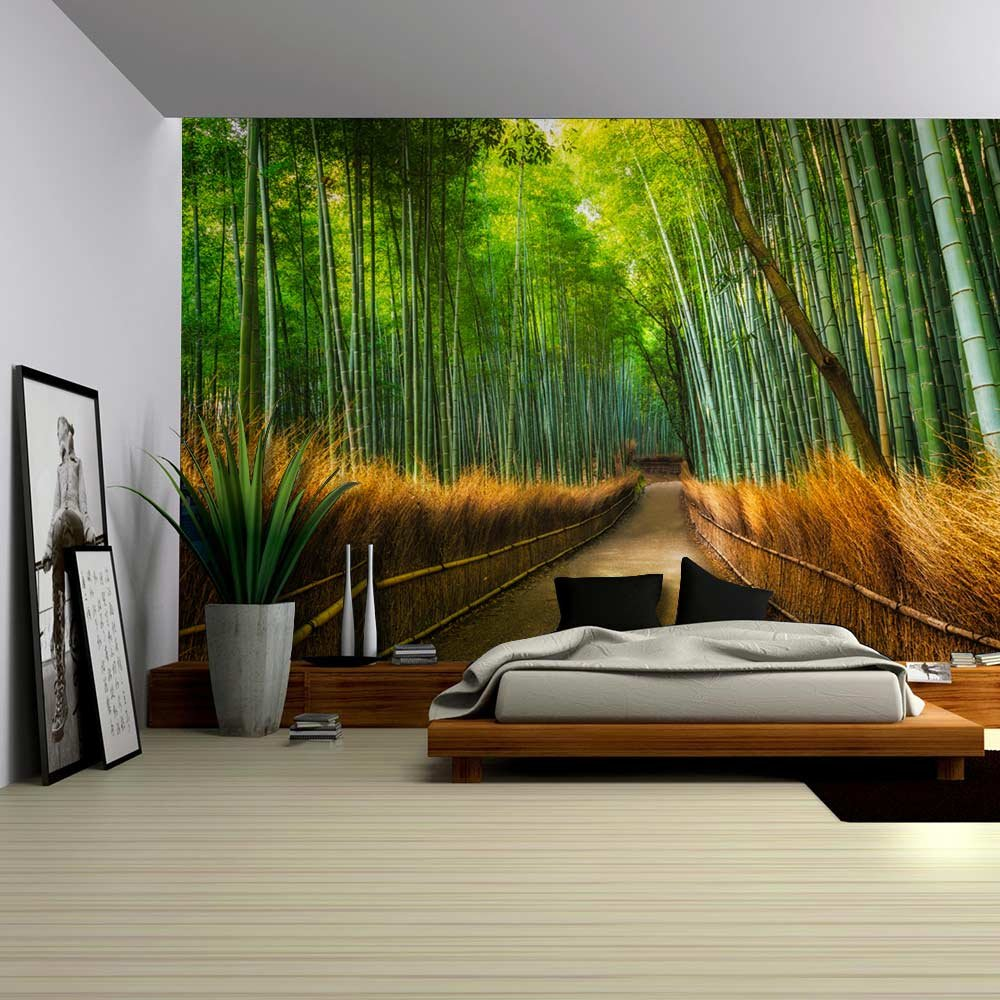 Mural of a pathway in a bamboo forest wall mural home for Bamboo forest wall mural