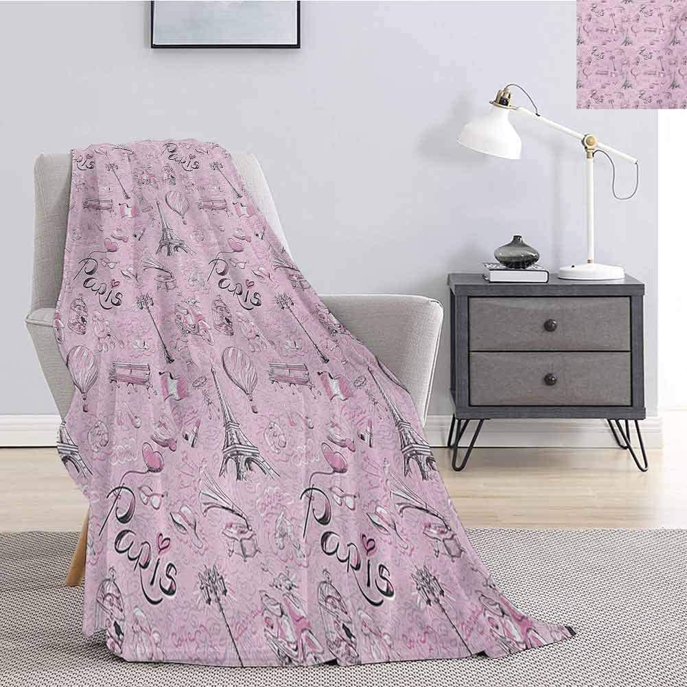 Luoiaax Paris Fuzzy Blankets King Size Paris Themed Sketch Art with Bike Dog Shoes Lantern Hot Air Ballon Bird Cage Fluffy Decorative Blanket for Couch W60 x L80 Inch Pink White Black