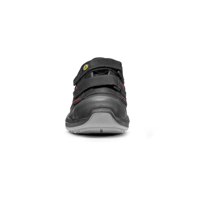 Lupos bequem LU30146 Sicherheitsschuhe, Distance, leicht, bequem Lupos und atmungsaktiv mit Sicherheitsstandard S1P SRC ESD und Sohle mit Light Grip System-Technologie, schwarz, rot, 45 - 3e8436