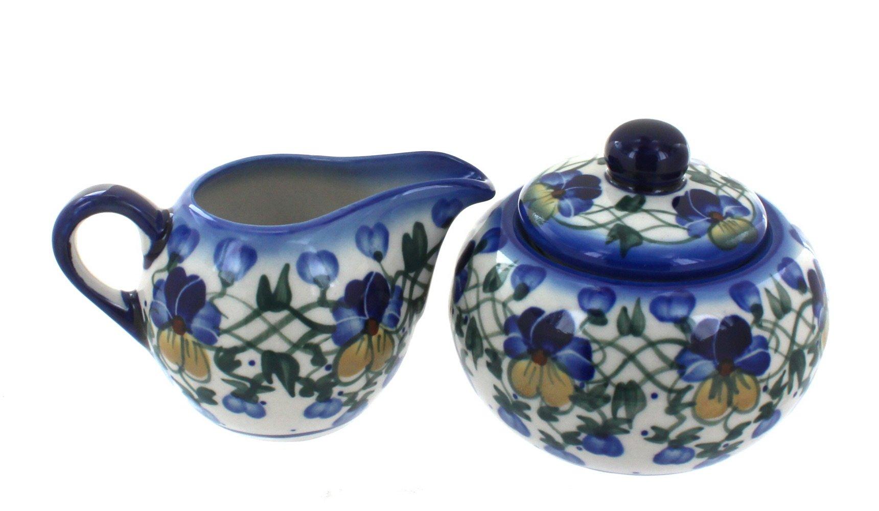 Blue Rose Polish Pottery Pansies Sugar Bowl & Creamer